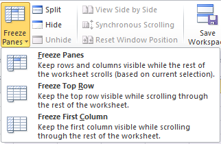 Excel 2010 Freeze Panes button expanded