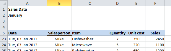 Excel 2010 Freeze Panes scrolled down