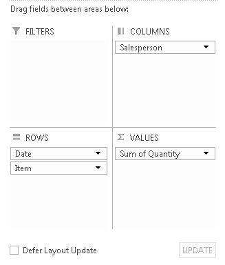 Excel, How to create a PivotTable, PivotTable drag fields layout builder, report by item