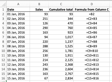 Excel - calculating a running total for a column of cells with a simple addition formula
