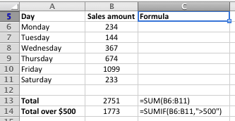 Excel SUMIF function worked example with two arguments