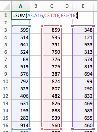 use the sum function to add up a column or row of cells in excel
