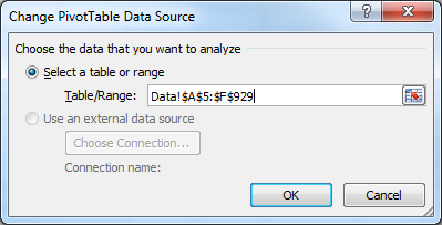 Excel Pivot Table, updated data range for the pivot table.