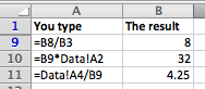 Excel formula examples that link cells between two worksheets
