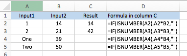 Excel ISNUMBER function, worked example with final results
