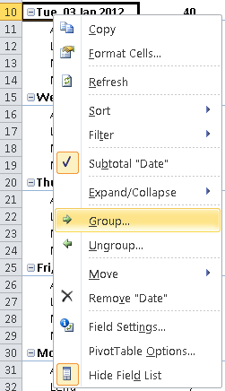 Grouping by Date in an Excel Pivot Table  Learn Microsoft