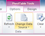 Excel Pivot Table Tools, options to refresh data or change data source