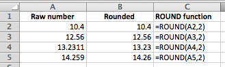 Excel example of the ROUND function in action