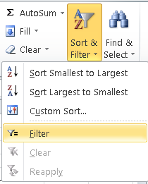 Excel, choosing the Filter option from the Sort and Filter menu, in order to enable Autofilter