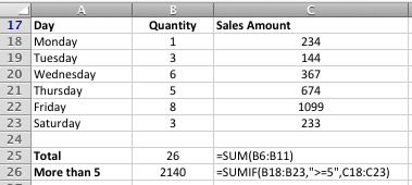 Excel SUMIF function example with three arguments