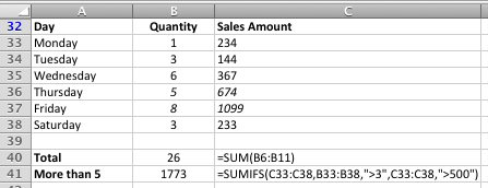 Excel - a worked example of the SUMIFS function