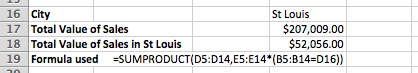 Excel SUMPRODUCT example that includes a criteria value to limit the rows included in the total