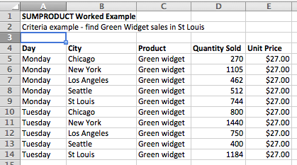 multiply two columns and add up the results using sumproduct