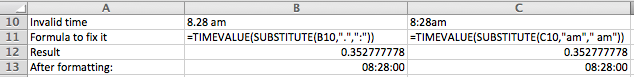 Excel, converting text values to time values using TEXTVALUE and SUBSTITUTE