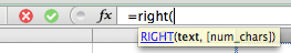 Excel, typing the RIGHT function