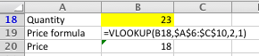 Excel VLOOKUP worked example, using nearest match