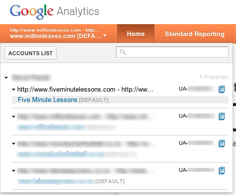 Google Analytics choose an account to administer