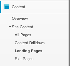 Choose the Landing Pages report in Google Analytics