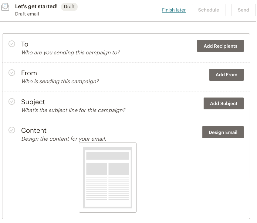 Mailchimp Draft Email Campaign Design Screen | Learn Mailchimp with Five Minute Lessons
