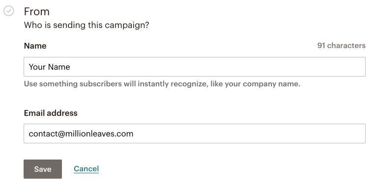 Mailchimp email campaign - change the From field for your campaign | Learn Mailchimp with Five Minute Lessons