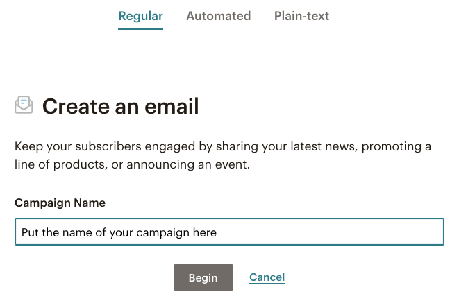 Mailchimp Email Campaign choose type and enter campaign name | Learn Mailchimp with Five Minute Lessons
