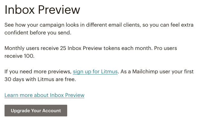 Mailchimp email campaign preview - Inbox Preview | Learn Mailchimp with Five Minute Lessons