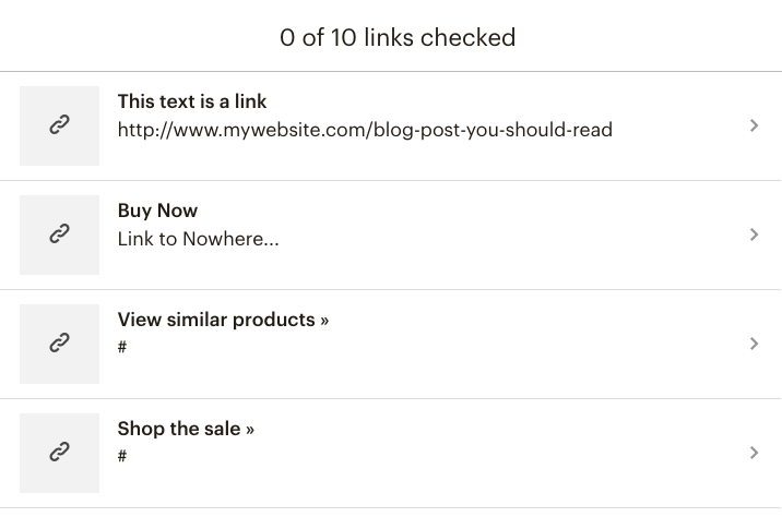 Mailchimp email campaign - link checker list | Learn Mailchimp with Five Minute Lessons