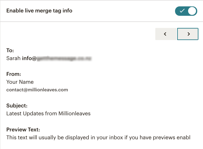 Mailchimp email campaign preview - live Merge Tags | Learn Mailchimp with Five Minute Lessons