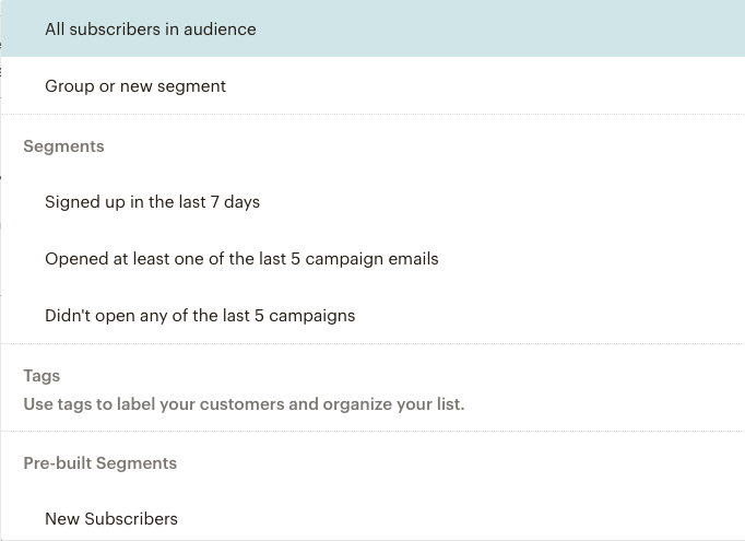 Mailchimp Email Campaign segmentation options | Learn Mailchimp with Five Minute Lessons