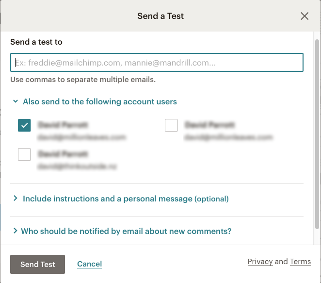 Mailchimp email campaign - Send Test email options | Learn Mailchimp with Five Minute Lessons