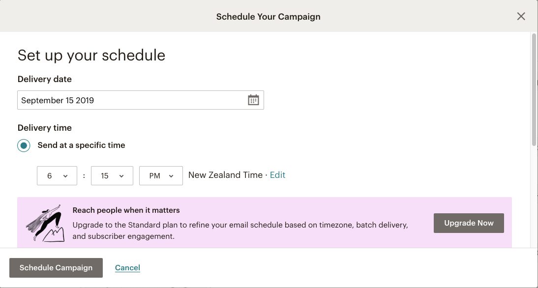 Mailchimp email campaign - send your campaign at a scheduled time | Learn Mailchimp with Five Minute Lessons