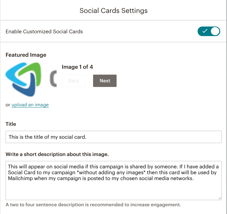 Mailchimp Social Cards setting enabled for a campaign | Learn Mailchimp with Five Minute Lessons