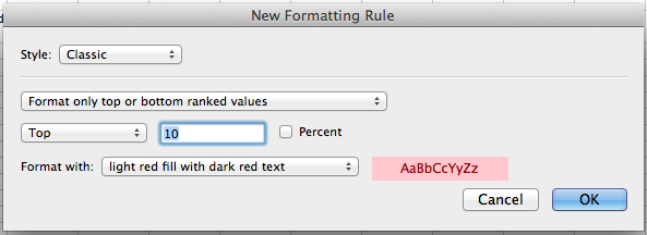 Microsoft Excel for Mac, creating a new conditional formatting rule based on the Classic style