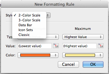 Microsoft Excel for Mac, creating a new conditional formatting rule