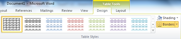 Microsoft Word table design toolbar